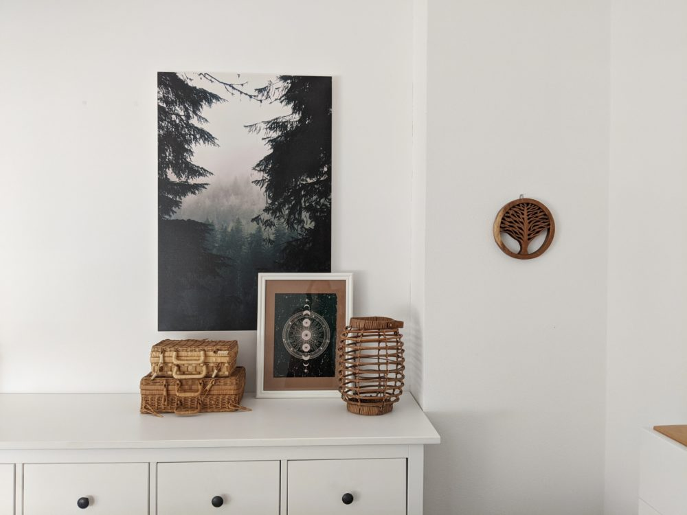 Style a sideboard with pictures, plants, accessories and lighting 1