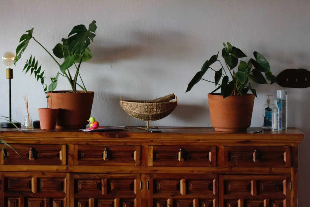 Style a sideboard with pictures, plants, accessories and lighting 2